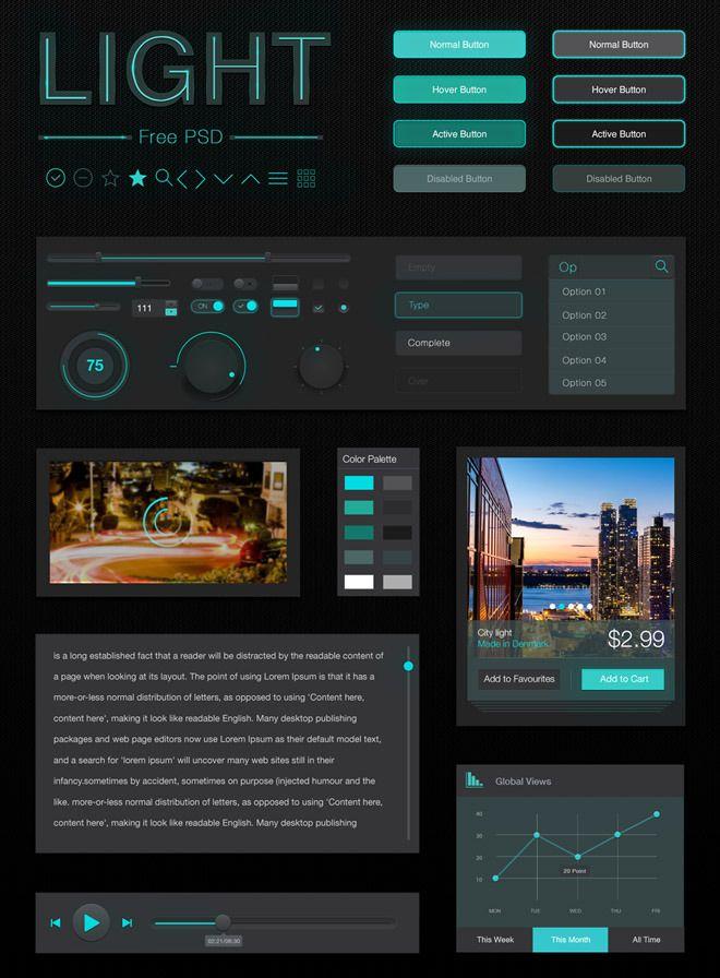 Light Mobile UI Kit | Freebiesjedi