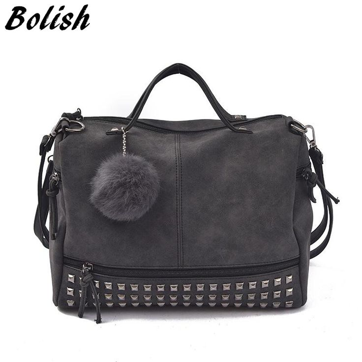Bolish Vintage Nubuck Leather Female Top-handle Bags Rivet Larger Women Bags Hair Ball Shoulder Bag Motorcycle Messenger Bag //Price: $25.00 & FREE Shipping //