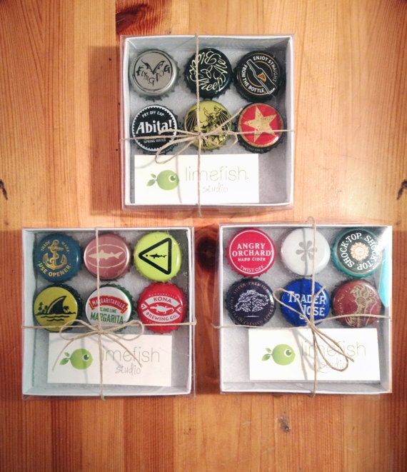 Bottlecap Magnets Beer 6-Pack Gift Box Set by limefishshop on Etsy #groomsmengifts