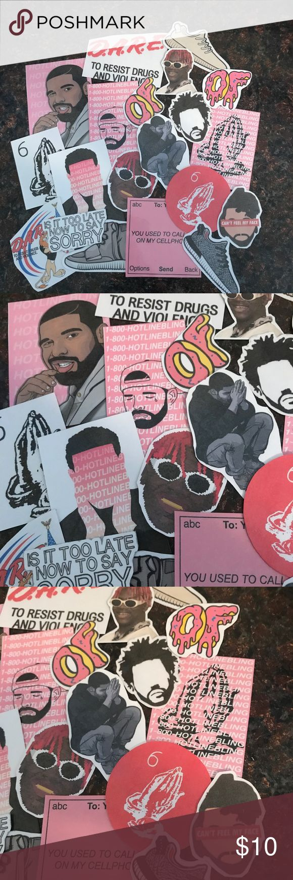 20 piece One time sticker bundle sale! One time hip hop bundle, I'm discontinuing some of my stickers so grab these all at a great price! No swapping or splitting up the bundle, thank you.   Includes: drake, odd future, lil yachty, yeezy boosts, dare, hotline bling, Tyler the creator, The Weeknd etc. you will get all as shown here. Laminated and hand cut with love, minor imperfections may exist. Laminated for some extra protection, not waterproof, stick well. Accessories