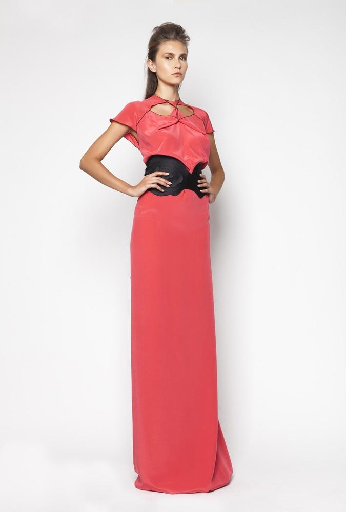 CHRISTOS COSTARELLOS SS12 Silk Crepe De Chine Maxi Dress With Handmade Layered Belt