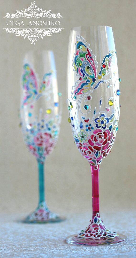 Champagne glasses Wedding glasses Flying от RomanticArtGlass