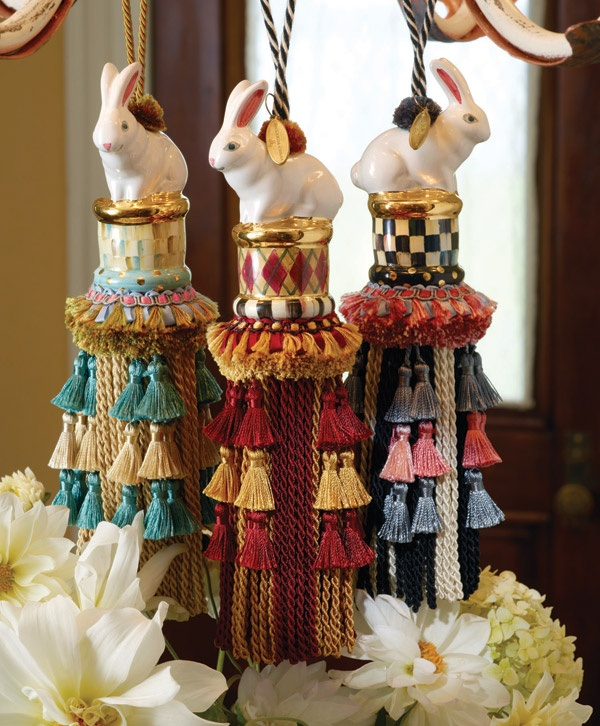 Our beautiful bird tassels have met their match! Rabbit hand-painted ceramic, passementerie tassels and trims.