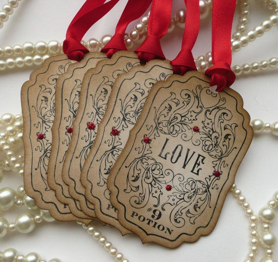 Halloween Wedding Favors - Love Potion Wedding Favor Tags - Vintage Inspired - Red Set of 50