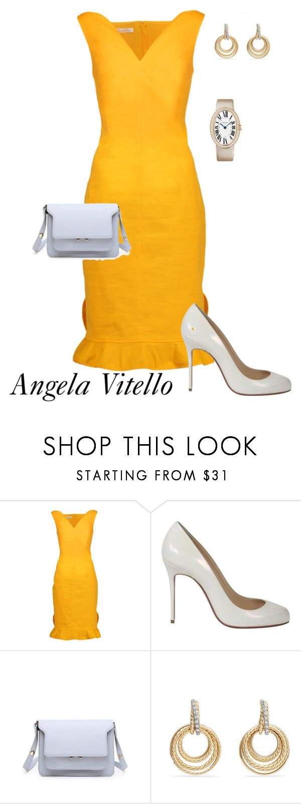 Untitled #1018 by angela-vitello on Polyvore featuring Oscar de la Renta, Christian Louboutin and David Yurman
