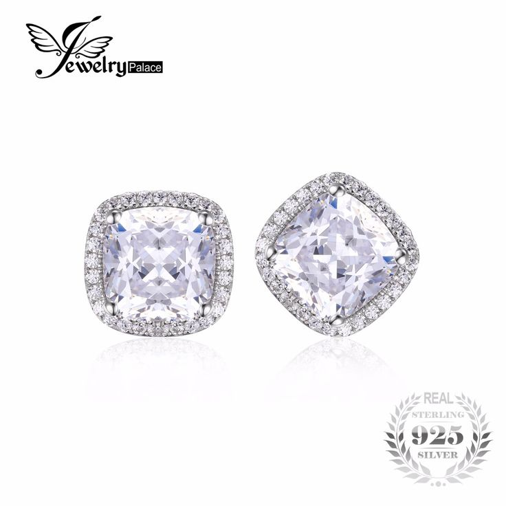 JewelryPalace Cushion 6ct Zirconia Halo Stud Earrings Pure Solid 925 Sterling Silver Jewelry For Women Classic Wedding Gift