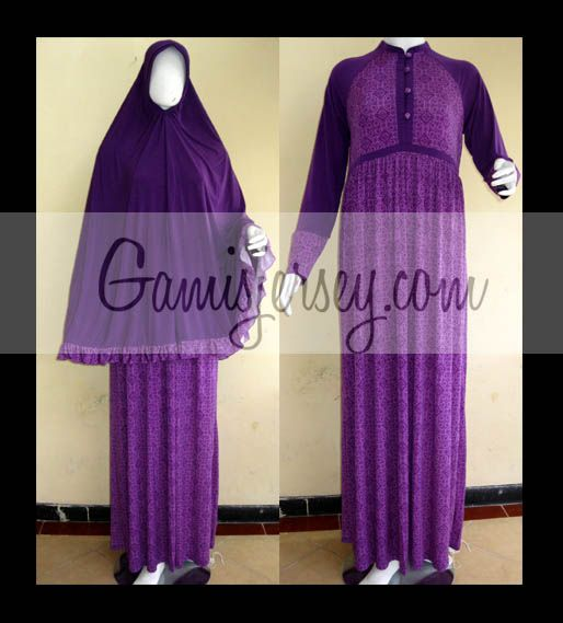 GJHKLH copy Gamis set Khimar: Sweet Purple