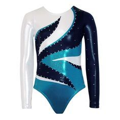Liberty Navy/Ocean/Silver Mystique Long Sleeve | Long Sleeve | Competition Leotards | Gymnastics Leotards