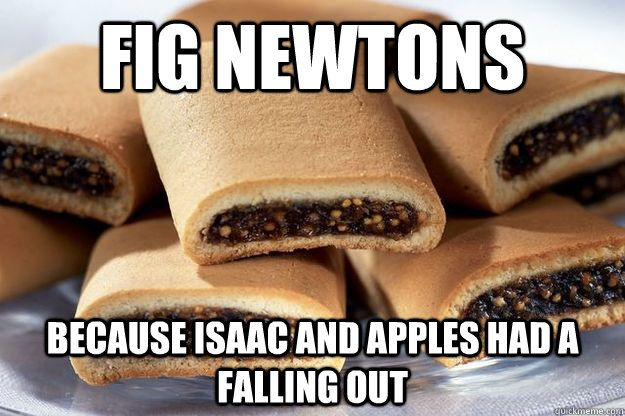 An image macro by Kevin L. Schwartz.  fig newtons:   because Isaac and apples had a falling out
