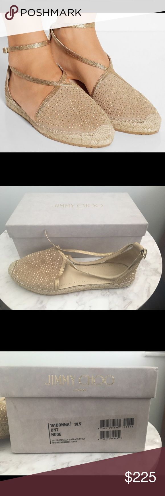 Jimmy Choo Nude espadrilles 38.5 Jimmy Choo Espadrilles -- RETAIL $525.00  Basically New -- Includes Box  Worn Once, No Visible Wear!   Perfect for Resort Season!  A braided jute sole lends breezy bohemian allure to a soft suede espadrille illuminated in shining microstuds. Slender, metallic trim and a wraparound ankle strap perfect the look. Adjustable strap with buckle closure. Suede and leather upper/leather lining/leather and jute sole. By Jimmy Choo; made in Spain. Jimmy Choo Shoes…