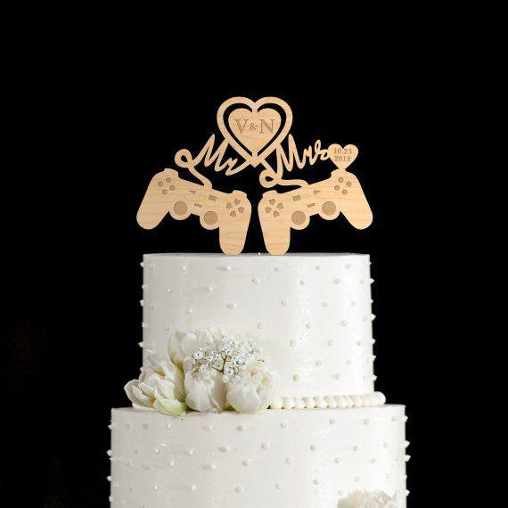 Gamer wedding cake topper,Geek wedding cake topper,Video game wedding cake topper,video game cake topper,video game geeky cake topper,760