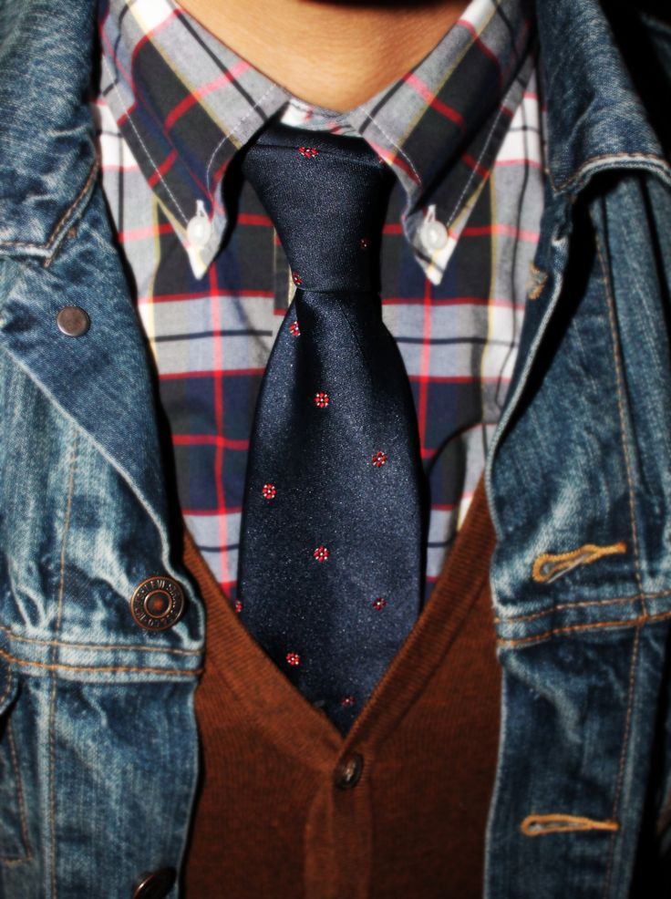 Denim Jacket Vest Tie Shirt Men Clothing Pinterest