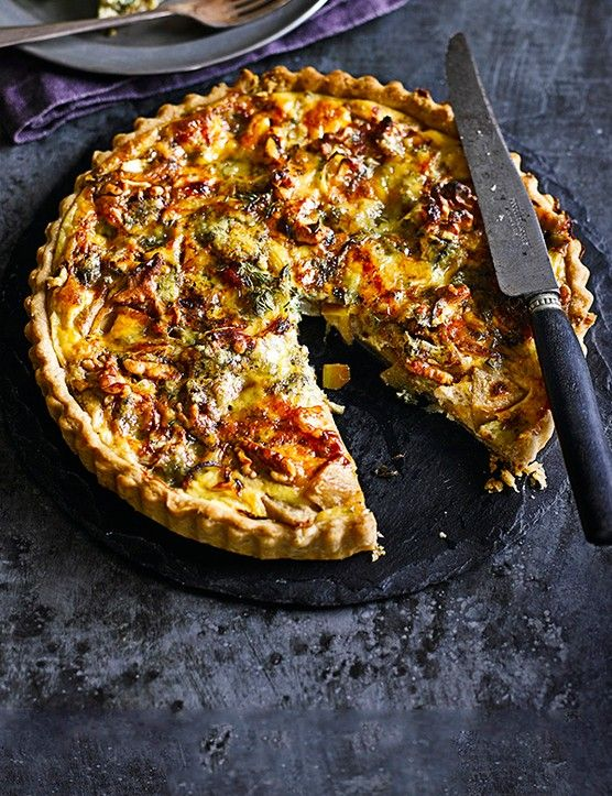 Pear and Blue Cheese Tart With Walnut Pastry