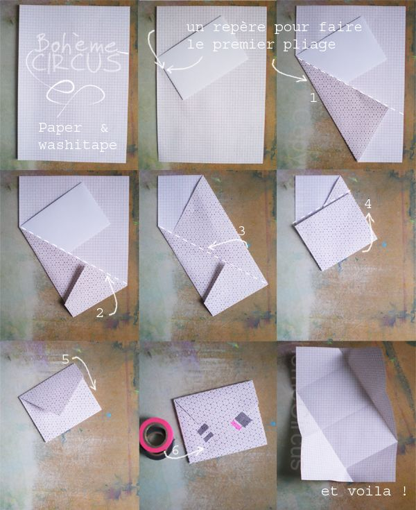 Envelope folding - Paper & Washitape - DIY by Bohème Circus