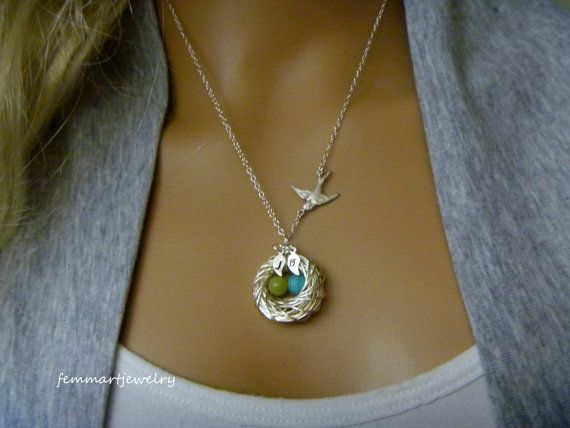 Mothers Day Gift - Wire wrapped bird nest necklace with birthstone eggs - mother of the bride - mommy necklace