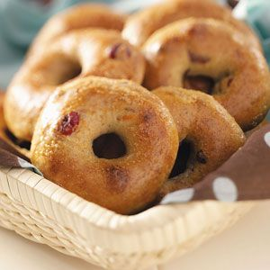 Cranberry Orange Bagels. Changes: used half whole wheat flour, doubled the recipe, used only 3 tbs brown sugar, baked on baking stone. So good.