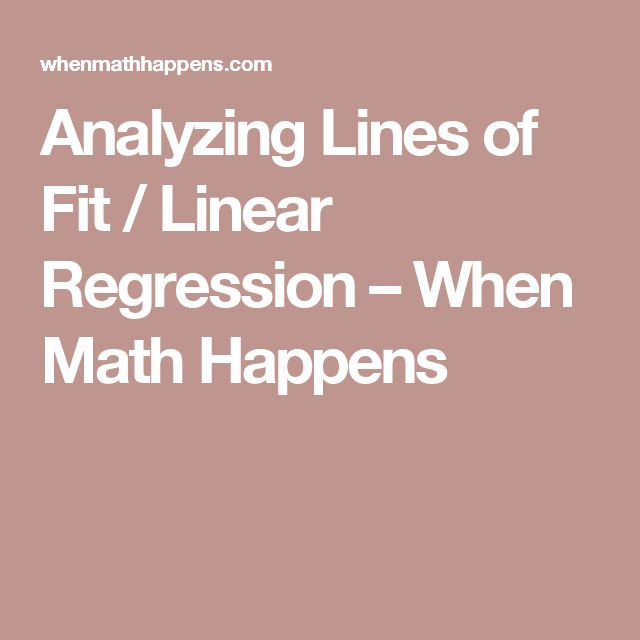 Analyzing Lines of Fit / Linear Regression – When Math Happens