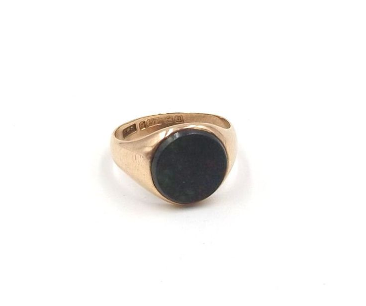 Antique 9ct Rose Gold Bloodstone Signet Ring | 9k Man's Ladies Men's Ring | UK size S ~ US size 9 | Hallmarked 1919 by DaisysCabinet on Etsy