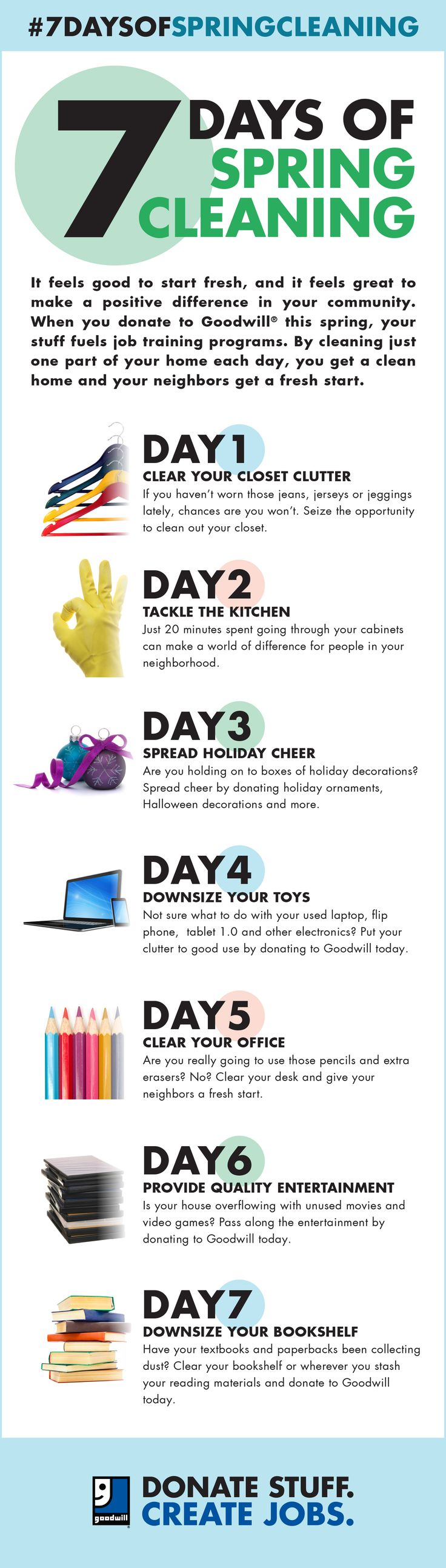 Wondering where to begin when it comes to spring cleaning? This #7DaysofSpringCleaning infographic helps you take it one day at a time.