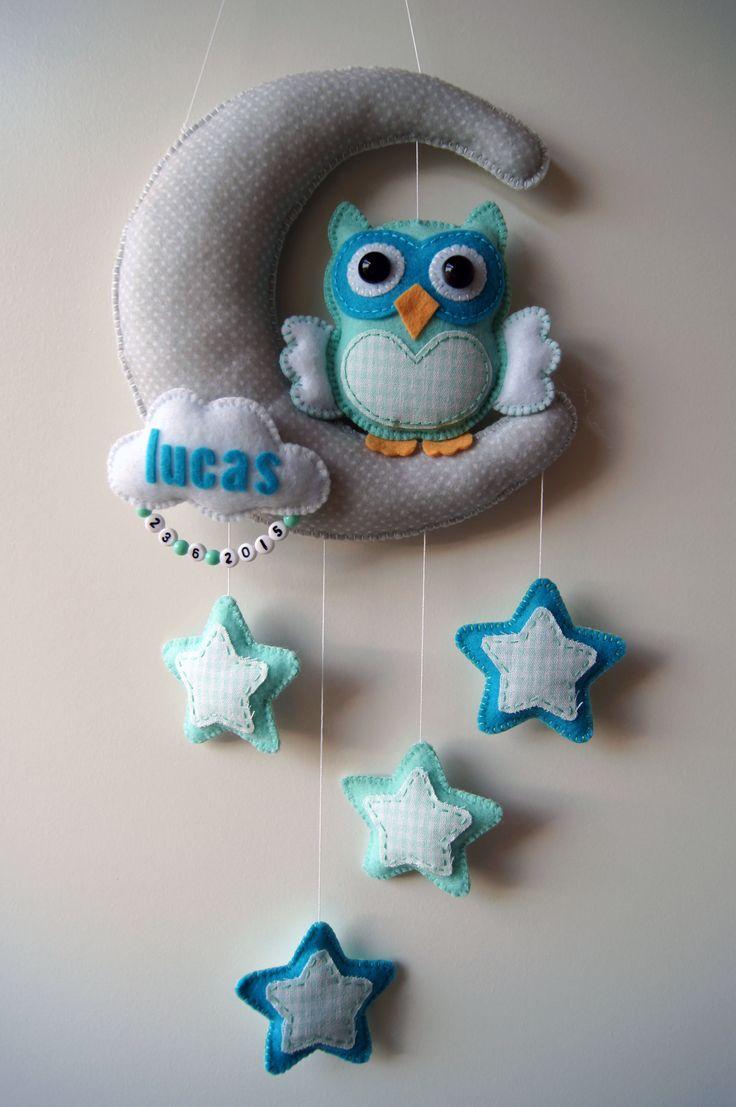 Handmade by JoHo - maan met uil en sterren van vilt en stof - moon owl stars felt