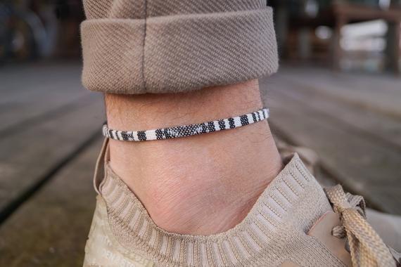 Black Leather and Cotton Bracelet  Anklet Wristband  Mens Womens Kids  Surf Beach Wear  His Her Gift  Adjustable Friendship Bracelet
