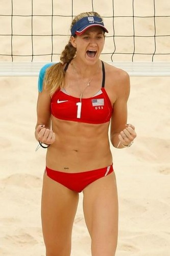 Beach volleyball player Kerri Walsh won her second consecutive gold medal at the 2008 Olympic Games with teammate Misty May-Treanor.