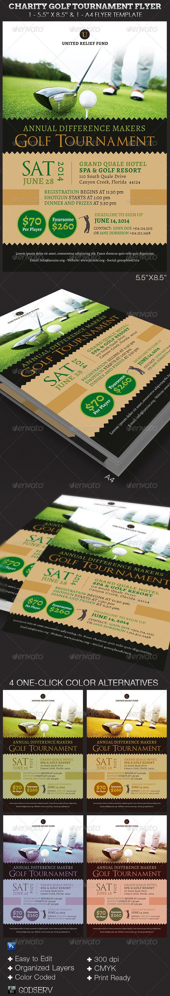 Charity Golf Tournament Flyer Template by Michael Taylor, via Behance