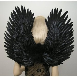 FashionWings(TM) Duo Use Black Swan Birds Raven Crow Costume Fallen Angel Gothic Fairy Feather Wings, Pointing up or Down. Adult Size. Unisex.