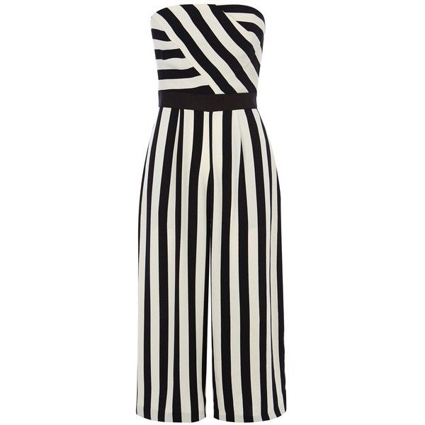Coast Selena stripe jumpsuit ($175) ❤ liked on Polyvore featuring jumpsuits, monochrome, women, cropped jumpsuit, bandeau jumpsuit, tailored jumpsuit, jump suit and striped jumpsuit