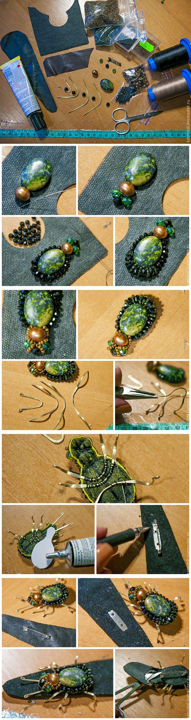 Очаровательный жучок с подвижными крылышками: делаем оригинальную брошь - Ярмарка Мастеров - ручная работа, handmade