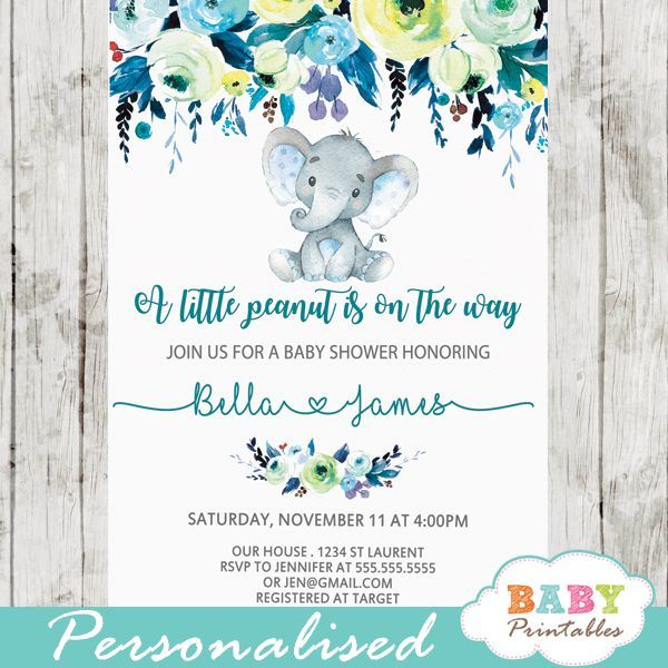 A little peanut is the on the way! Celebrate with these elegant elephant baby shower invitations boy. The little peanut baby shower invitations feature an adorable baby boy elephant sitting against a white backdrop decorated with a beautiful watercolor floral arrangement in teal blue accents. The Elephant Baby Shower Invitations Boy design uses artsy calligraphy in teal and grey, a beautiful color combination for an elephant baby shower theme boy. #babyshower #babyshowerinvitations