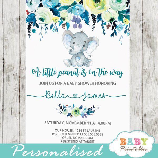 Elephant Baby Shower Invitations Boy Floral Teal Blue D432