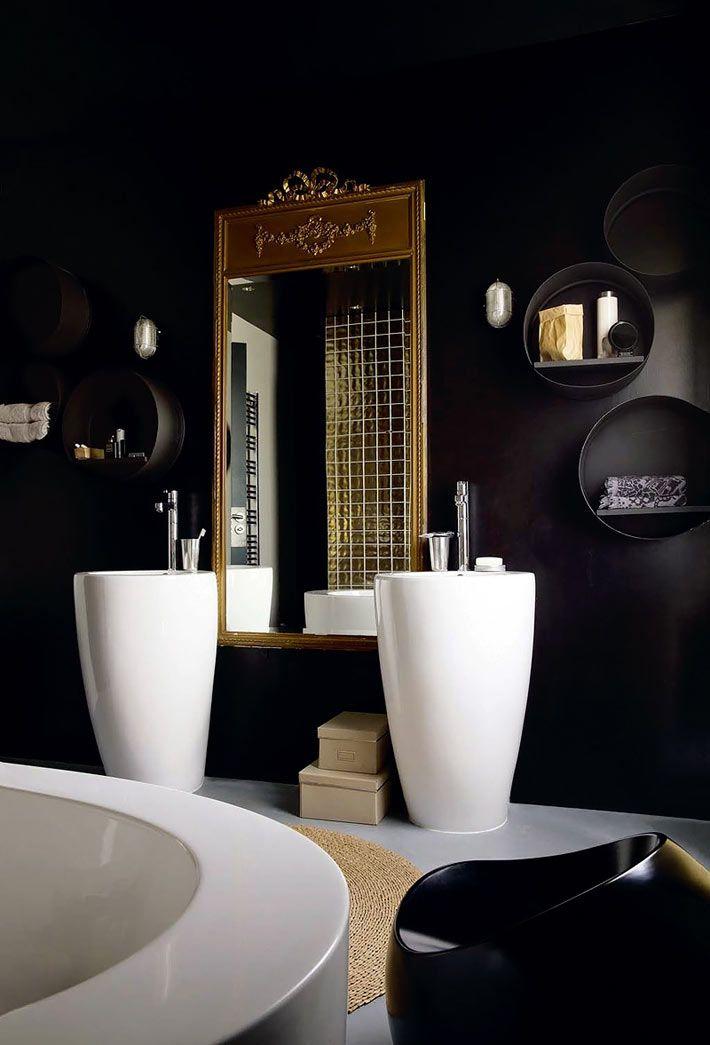 Черный цвет в дизайне интерьера ванной комнаты фото 01