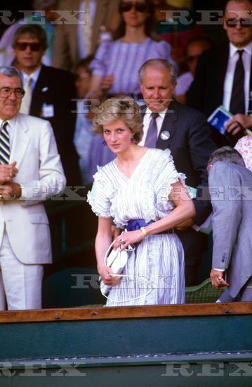 June 30 1986 Diana attends Wimbledon Men's Singles, fourth round tennis match between Australia's Pat Cash and Sweden's Mats Wilander, from the Royal Box at Wimbledon's Centre Court