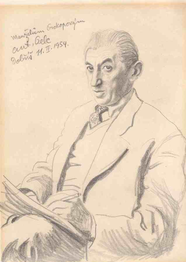 ANTONÍN PELC (1895-1967) Autoportrét 1954  byl český karikaturista, malíř a ilustrátor.