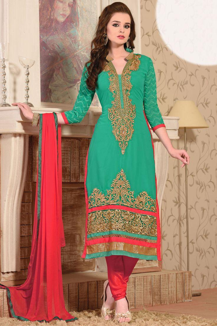 Green pakistani salwar kameez online from HDbazaar