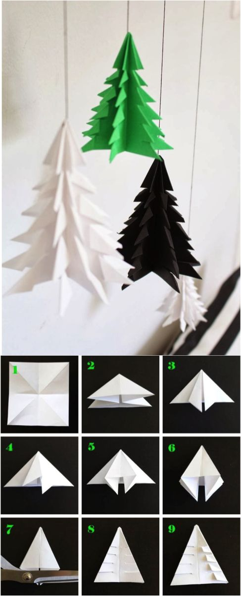 DIY Paper christmas tree, origami style.