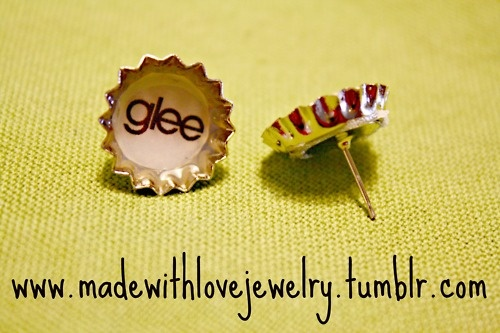GLEE Mini Bottle Cap Stud Earrings  If you would like to see more of my pieces, please visit my Facebook Page for updates, pictures, giveaways and more!   www.facebook.com/...     Follow my designs on Tumblr!:  www.madewithlovej...  Or visit my Etsy Shop:   www.etsy.com/...