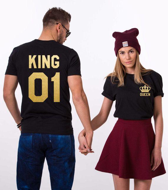 Rey y la reina camisas con coronas rey y reina por EpicTees4You