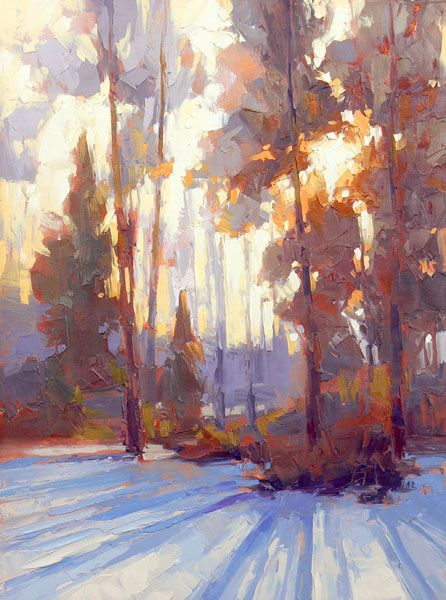 """David Mensing's pensive painted meditation on a winter landscape. """"To Touch, Refine"""""""