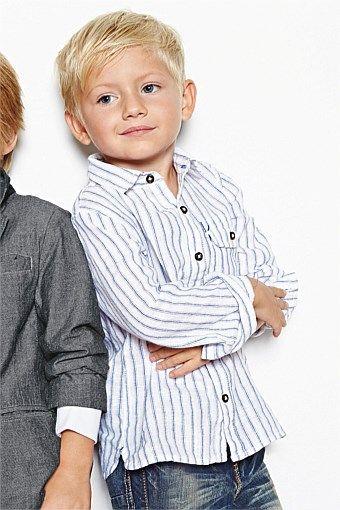 Boys Clothing Online | Clothes for Boys 3 Months to 6 Years - Next Stripe Linen Blend Shirt (3mths-6yrs) - EziBuy Australia