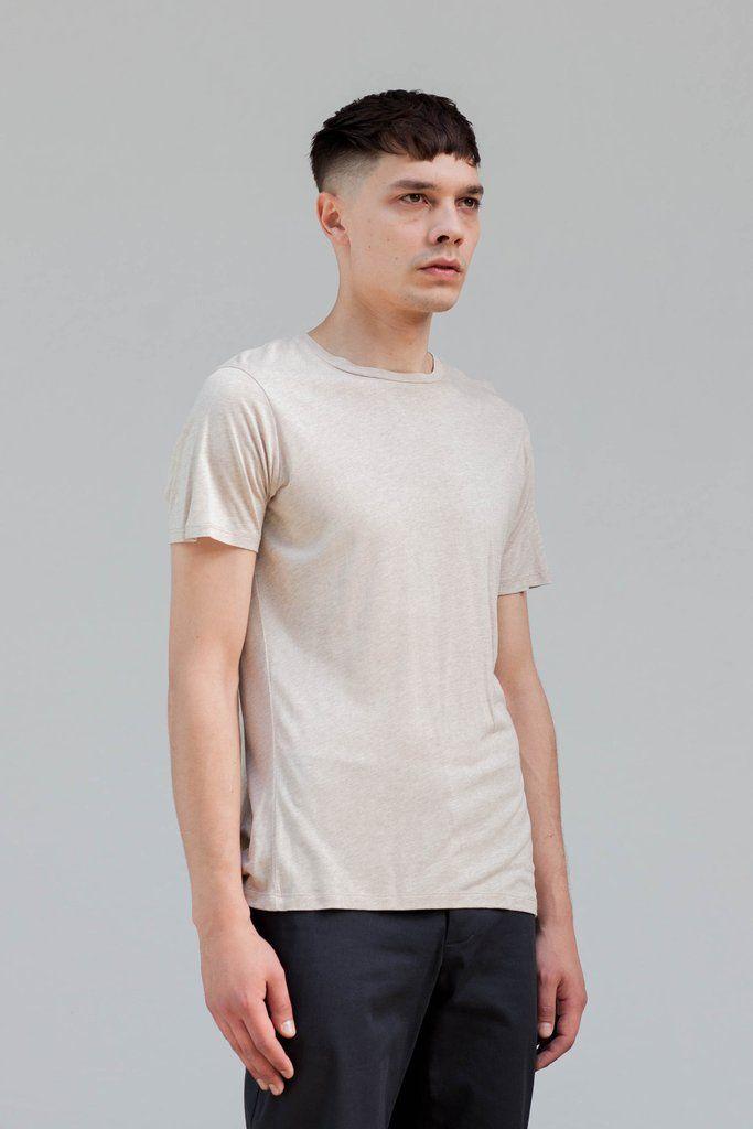 VON HUND Fashion & Design - Menswear Lookbook S/S16, Beige Melange Hakon Classic Tee in Silk Jersey & Anthracite Folcher Pants. Radical Price Transparency.  www.vonhund.com