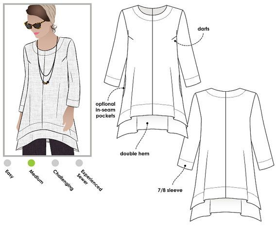 Woven top sewing pattern for women in sizes 16, 18 and 20. PDF pattern for instant download. See size chart in the gallery to choose your correct size! Sizes 4 - 30 are available in our store. Other sizes available here... www.etsy.com/shop/StyleArc/search?search_query=daisy+designer+tunic The symmetrical double angled hemlines give this simple tunic a designer look. Choose your season; make it sleeveless or with a fashionable three-quarter sleeve. The in-seam pockets are...