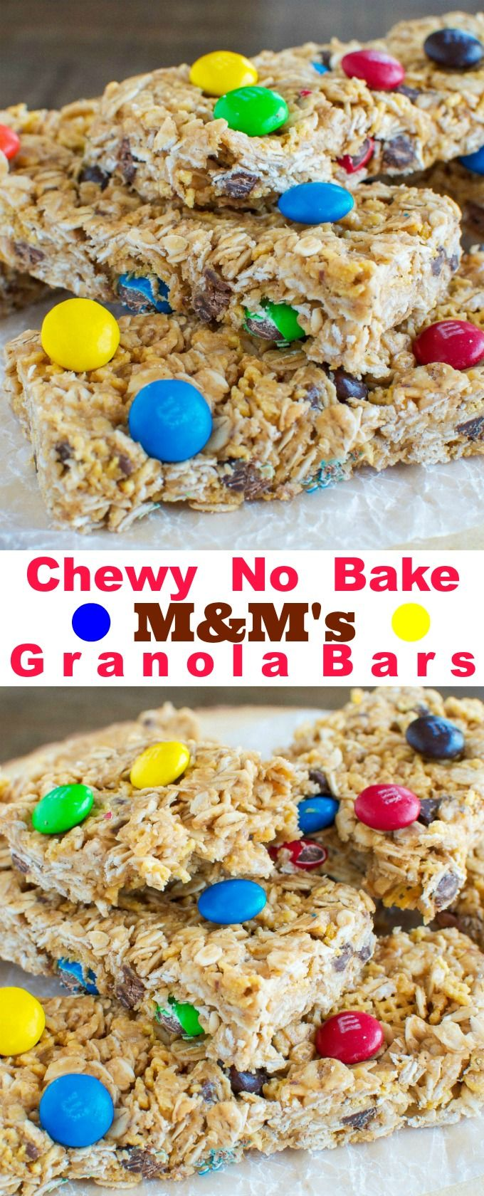 Chewy No Bake Peanut Butter and M&M Granola Bars! Great snack or lunchbox treat! #Promotion