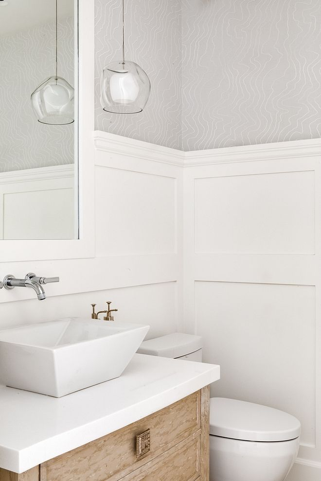 Waiscoting This Elegant Powder Room Features A Wainscoting With 3 4 Height Bathroom Waiscoting Bathroom Waiscoting Powder Room Home Interior Design Wainscoting