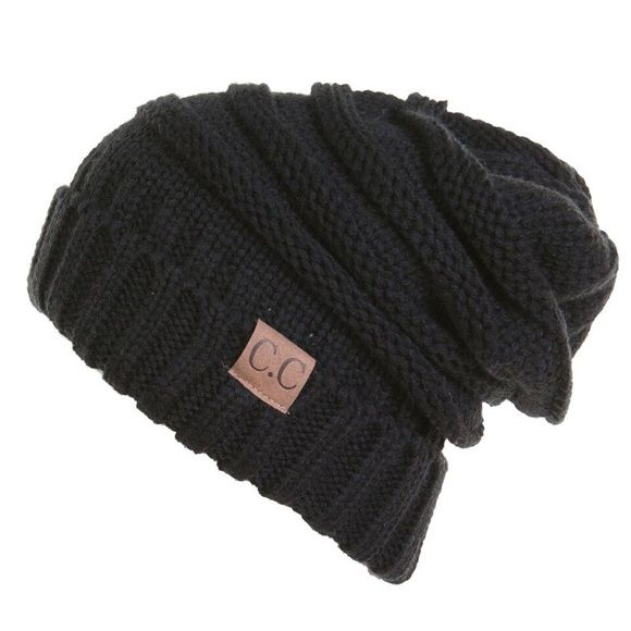 🎀🆕🎀CC Beanies!! 100% Acrylic Over Sized Slouchy Knit Beanie Hat with Leather Tag. CC BEANIE Accessories Hats
