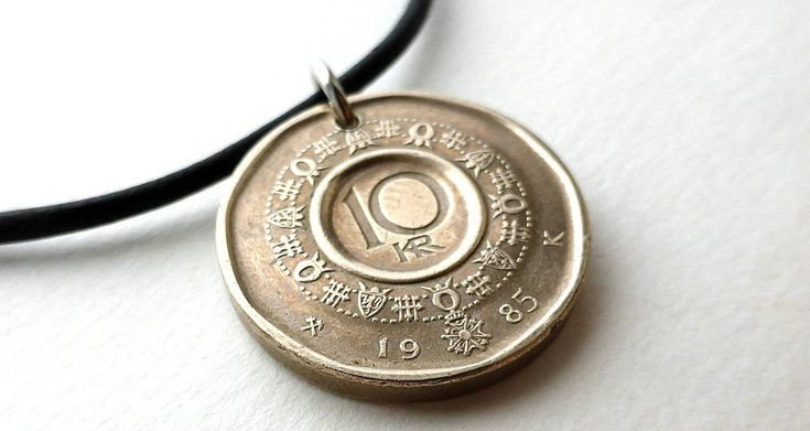 Coin necklace, Norwegian, Coin necklace, Coin jewelry, Men's necklace, Coins, Gift for her, Gift for him, Men's jewelry, Scandinavian, 1985 by CoinStories on Etsy