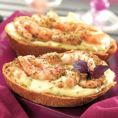 Tartine chaude de crevettes et Sauce Beurre Citron l Recette apéritif Tipiak