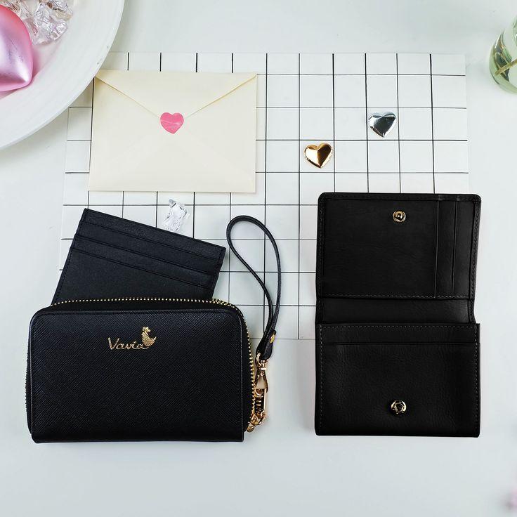 ♥Love Set♥: genuine leather mini wallets - Vavia 사랑의 세트 - 지갑 , 카드 소지자 , 가죽 ,  검은 --- Valentine Gifts 애인