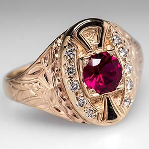 Vintage Mens Ruby Ring w/ Diamond Accents 14k Gold